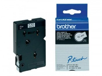 BROTHER CINTA TC LAMINADA 12 MM X 7,7 M NEGRO/BLANCO REF TC-201