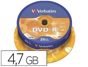 DVD-R VERBATIM16X 4.7GB BOBINA 25U.