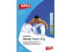 PAPEL APLI GLOSSY HIGH BRIGHT 135GR.