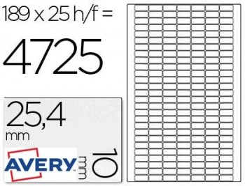 AVERY CAJA 25 HOJAS ETIQUETAS REMOVIBLES 25.4 X10 MM REF.L4731REV-25
